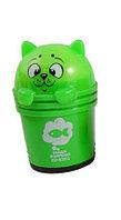 Точилка с ластиком котик в корзинке 2 в 1 в ассортименте Зеленый