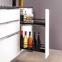 Выдвижная кухонная проволочная корзина, цвет черный, с мягким закрыванием 150 мм