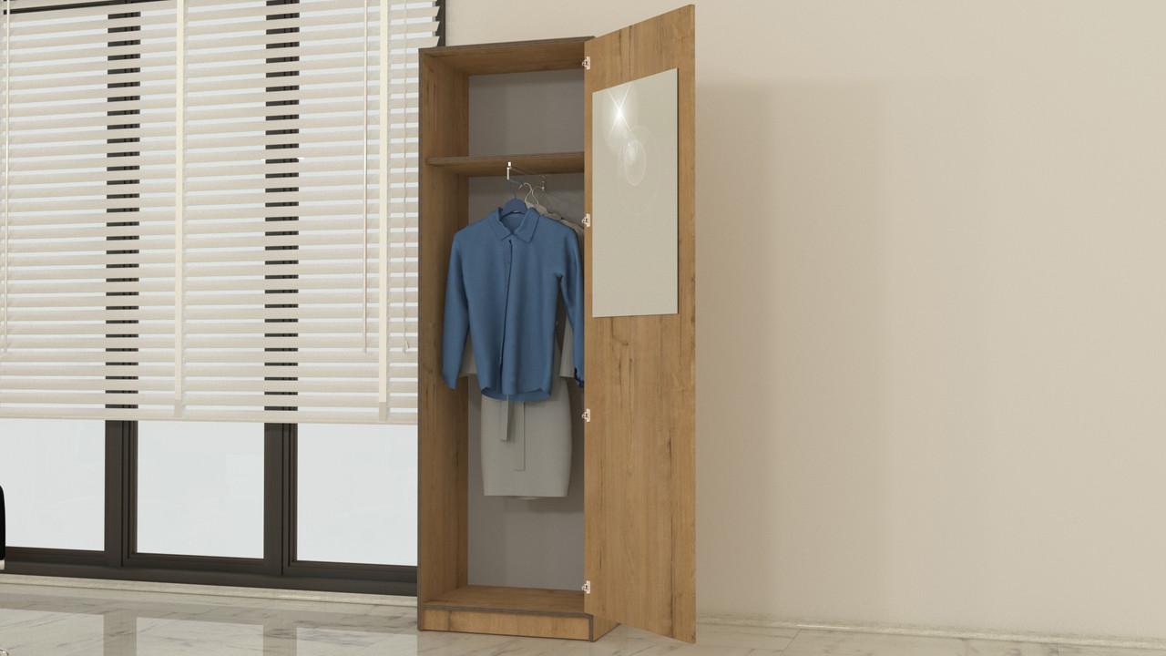 Болашак Шкаф для одежды узкий с зеркалом Дуб Бунратти