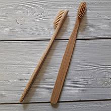 Бамбуковая зубная щетка средней жесткости. Бежевая щетина