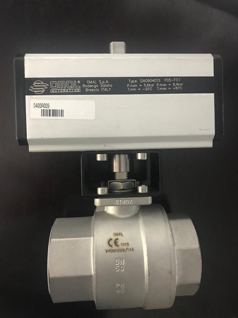 Шаровой кран с пневмоприводом одностороннего действия OMAL DA090401S F05-F07