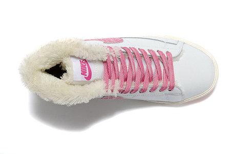 зимние кожаные  кроссовки женские Nike Air Max белые , фото 2