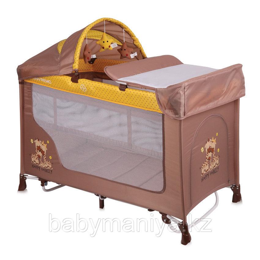 Кровать-манеж Lorelli San Remo 2 Plus Rocker Бежево - Желтый / Beige & Yellow FAMILY 1803