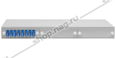 """Кросс оптический 19"""" (ШКОС) укомплектованный на 8 SC портов (с розетками)"""