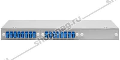 """Кросс оптический 19"""" (ШКОС) укомплектованный на 16 SC портов (комплект с розетками)"""