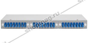 """Кросс оптический 19"""" (ШКОС) укомплектованный на 24 SC портов (комплект с розетками)"""