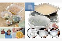 Силиконовые пленки-крышки Stretch and Fresh для хранения продуктов многоразовые - набор 4 шт., фото 2