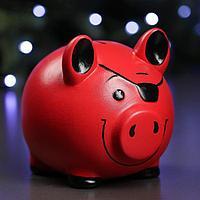 """Копилка """"Свинка-пират"""", с повязкой цвет красный, 20 см, фото 1"""