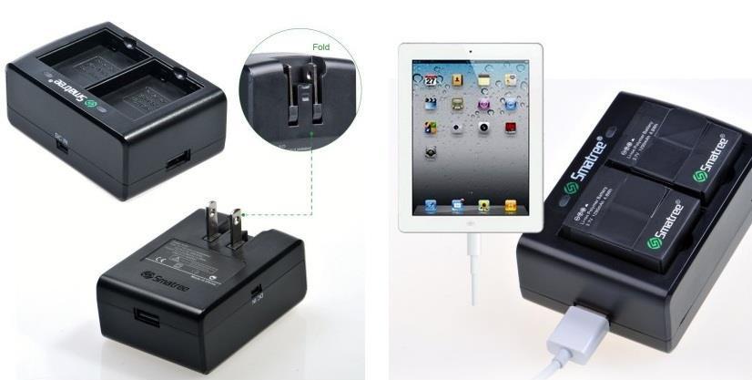 Smatree® Тонкое Dual Channel зарядное устройство для GoPro 3\3+