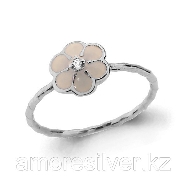 Серебряное кольцо с фианитом и эмалью   Аквамарин 67530А