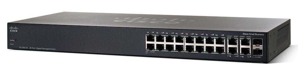 Коммутатор Cisco SG350-20 20-port Gigabit Managed Switch SG350-20-K9-EU