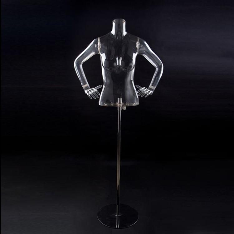 Женский манекен торс с руками прозрачный на подставке