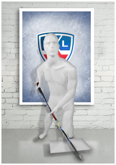 """Мужской манекен для одежды """"Хоккеист, бьющий слева ХКЛ - 01"""