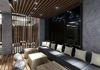 Кубообразный реечный потолок Цвет Дуб 3D
