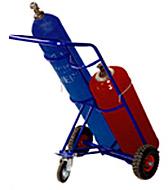 Тележка для 2-х баллонов (кислород, пропан). Колеса литые d250 + d160 опорное, фото 1