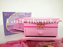 Шкатулка музыкальная прямоугольная Valentine Day с мишками розовая