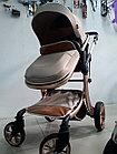 Бежевая коляска 2 в 1 Амели на золотой раме. Зима-лето. Трансформер. Всесезонная., фото 5