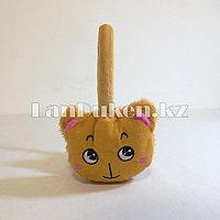 Меховые наушники детские с кошками коричневые