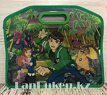 Детская папка-портфель с встроенными пластиковыми ручками Бэн Тэн (Ben 10) формат A4 зеленая