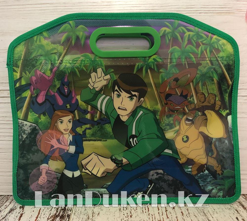 Детская папка-портфель с встроенными пластиковыми ручками Бэн Тэн (Ben 10) формат A4 зеленая - фото 1