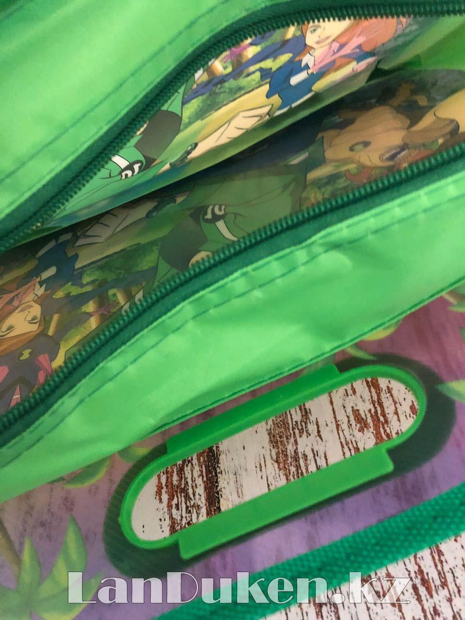 Детская папка-портфель с встроенными пластиковыми ручками Бэн Тэн (Ben 10) формат A4 зеленая - фото 3
