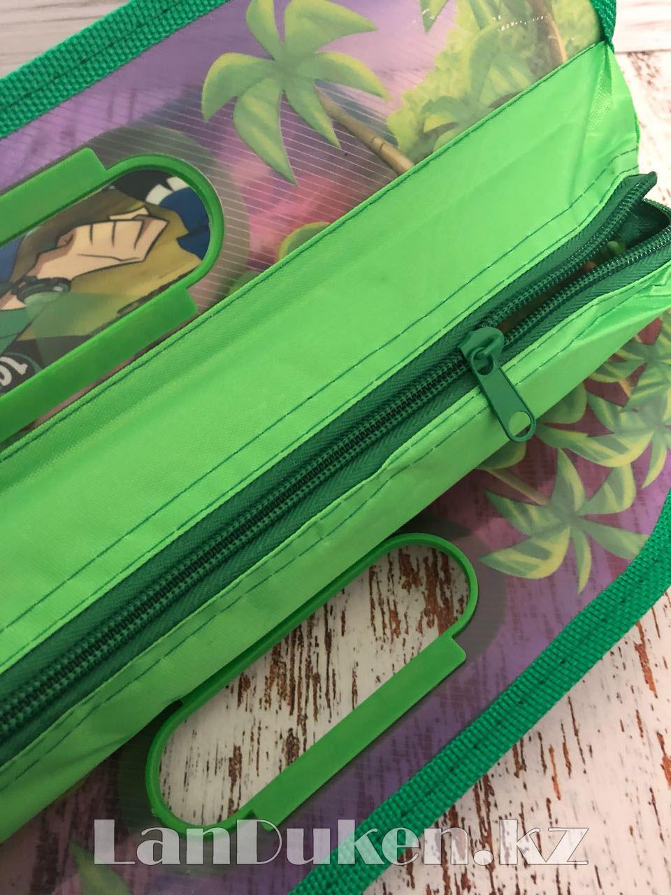 Детская папка-портфель с встроенными пластиковыми ручками Бэн Тэн (Ben 10) формат A4 зеленая - фото 4