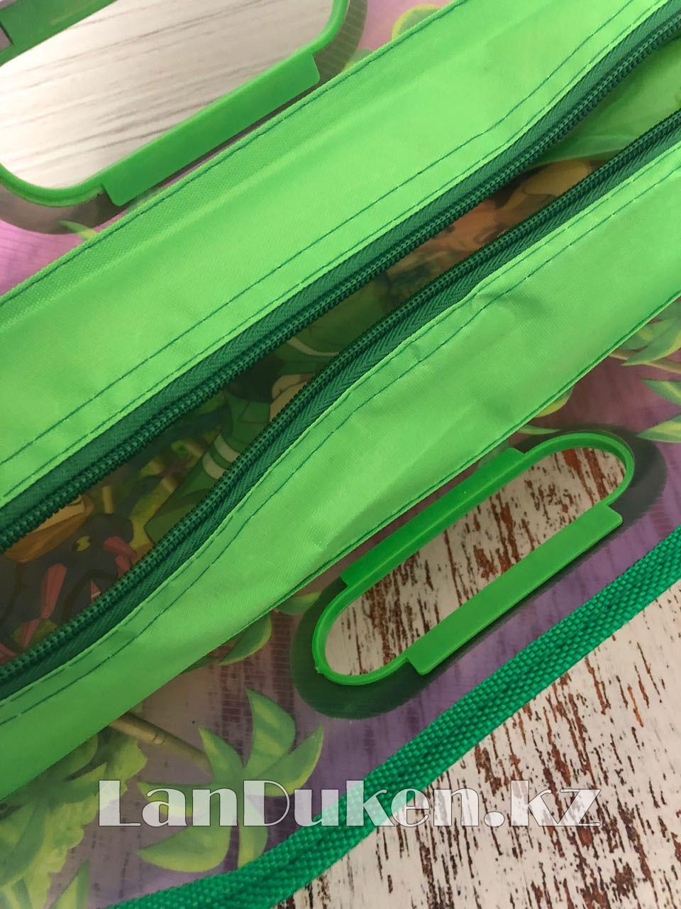 Детская папка-портфель с встроенными пластиковыми ручками Бэн Тэн (Ben 10) формат A4 зеленая - фото 5