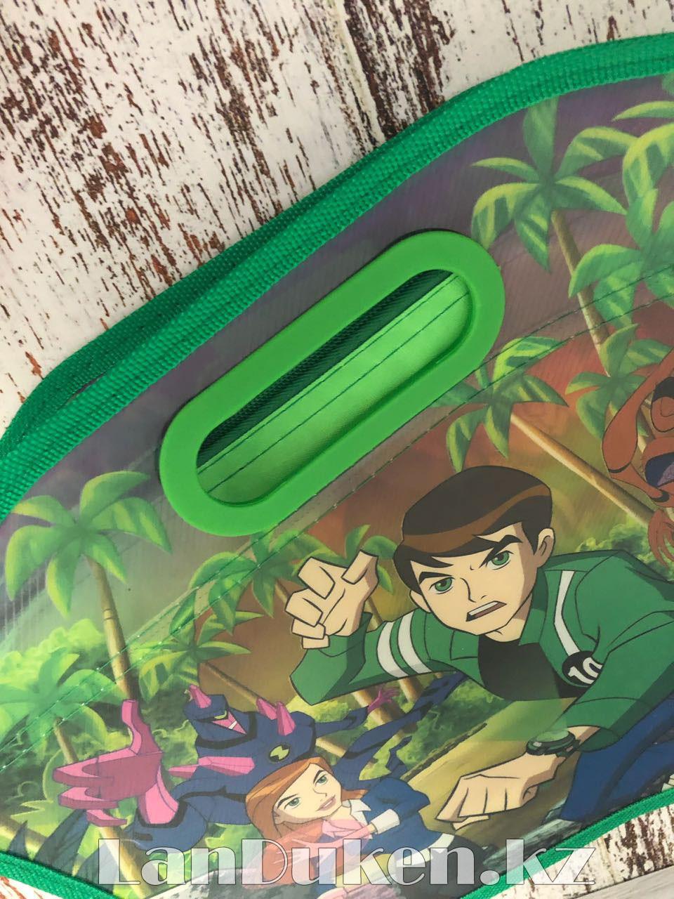 Детская папка-портфель с встроенными пластиковыми ручками Бэн Тэн (Ben 10) формат A4 зеленая - фото 8