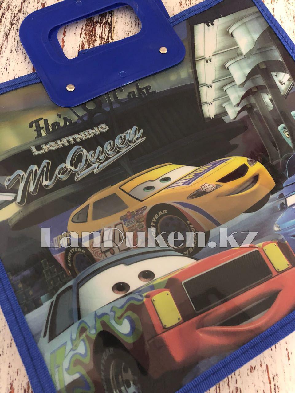 Детская папка-портфель с пластиковыми ручками Тачки (Cars) формат A4 синяя - фото 2