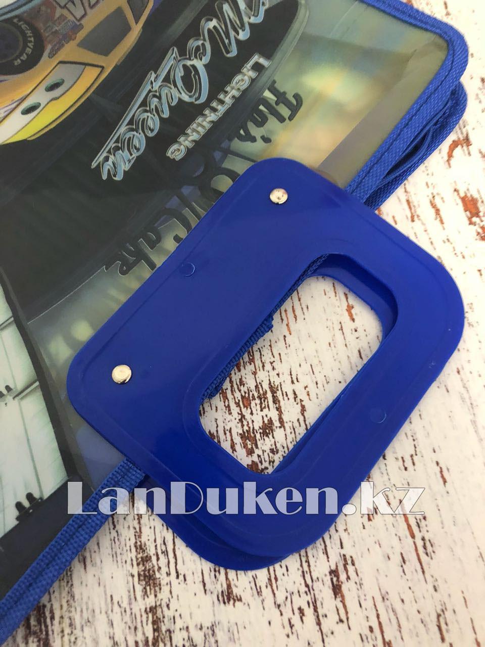 Детская папка-портфель с пластиковыми ручками Тачки (Cars) формат A4 синяя - фото 3