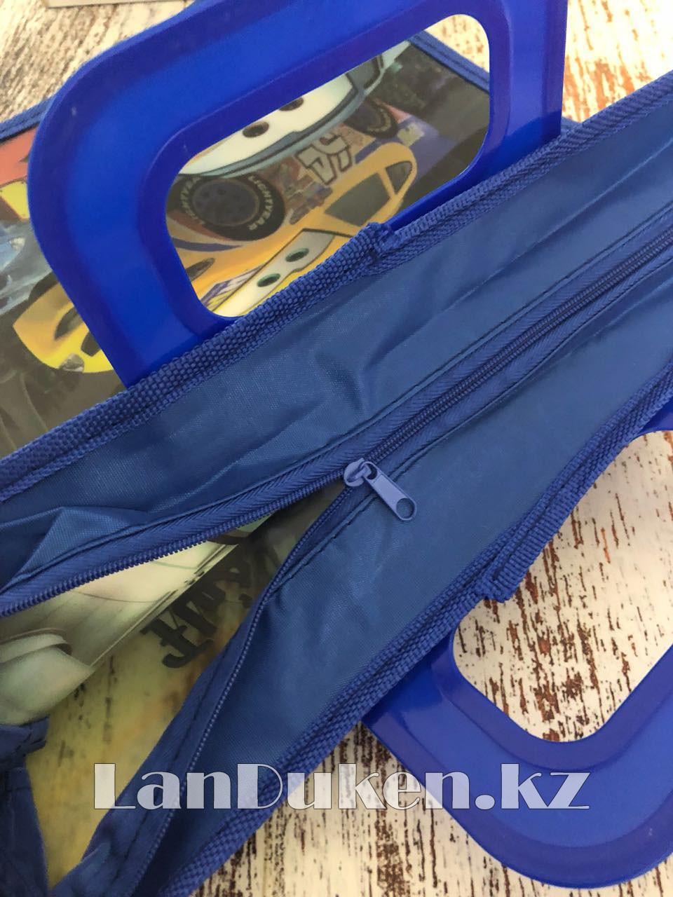 Детская папка-портфель с пластиковыми ручками Тачки (Cars) формат A4 синяя - фото 4