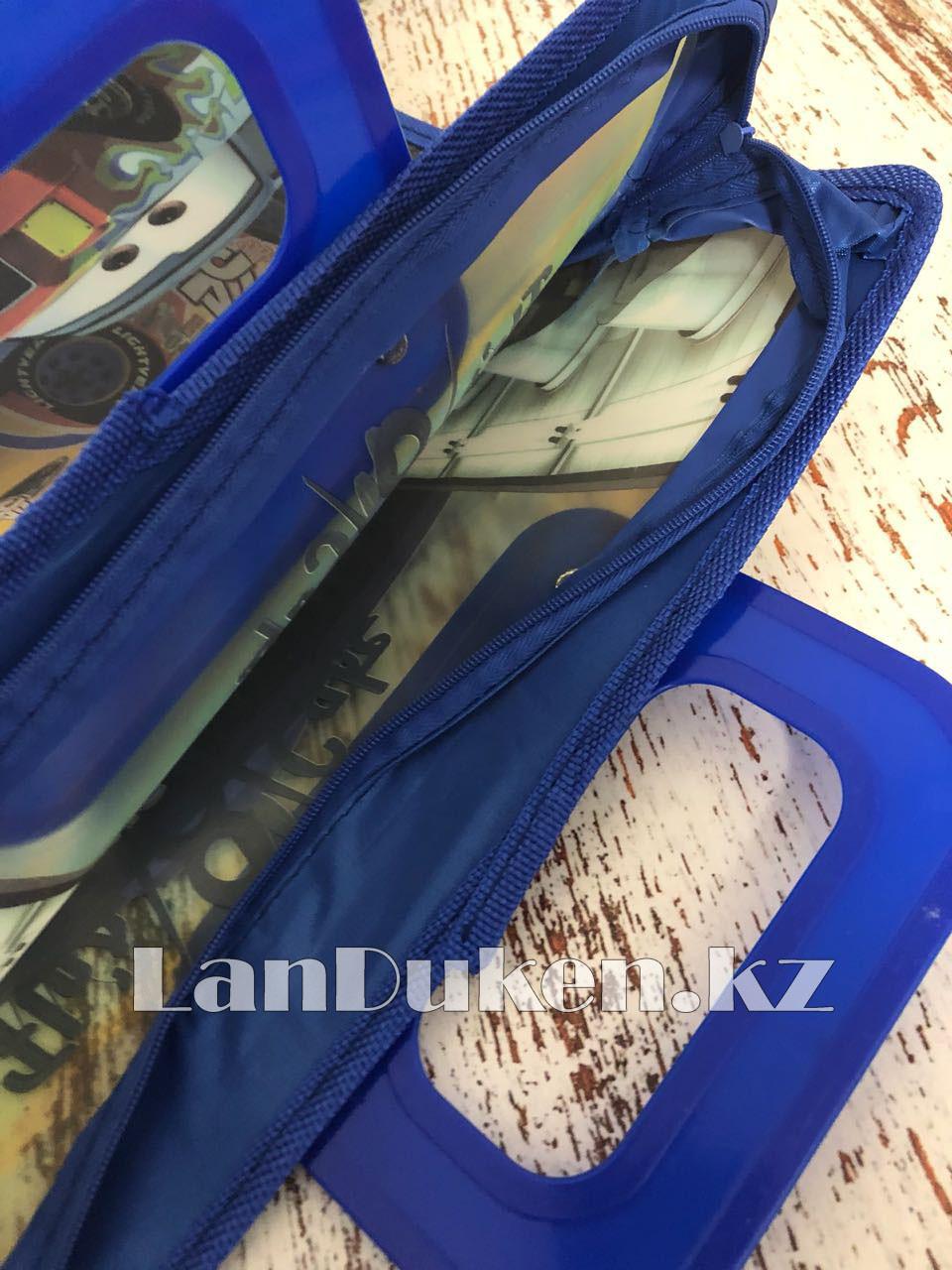 Детская папка-портфель с пластиковыми ручками Тачки (Cars) формат A4 синяя - фото 5