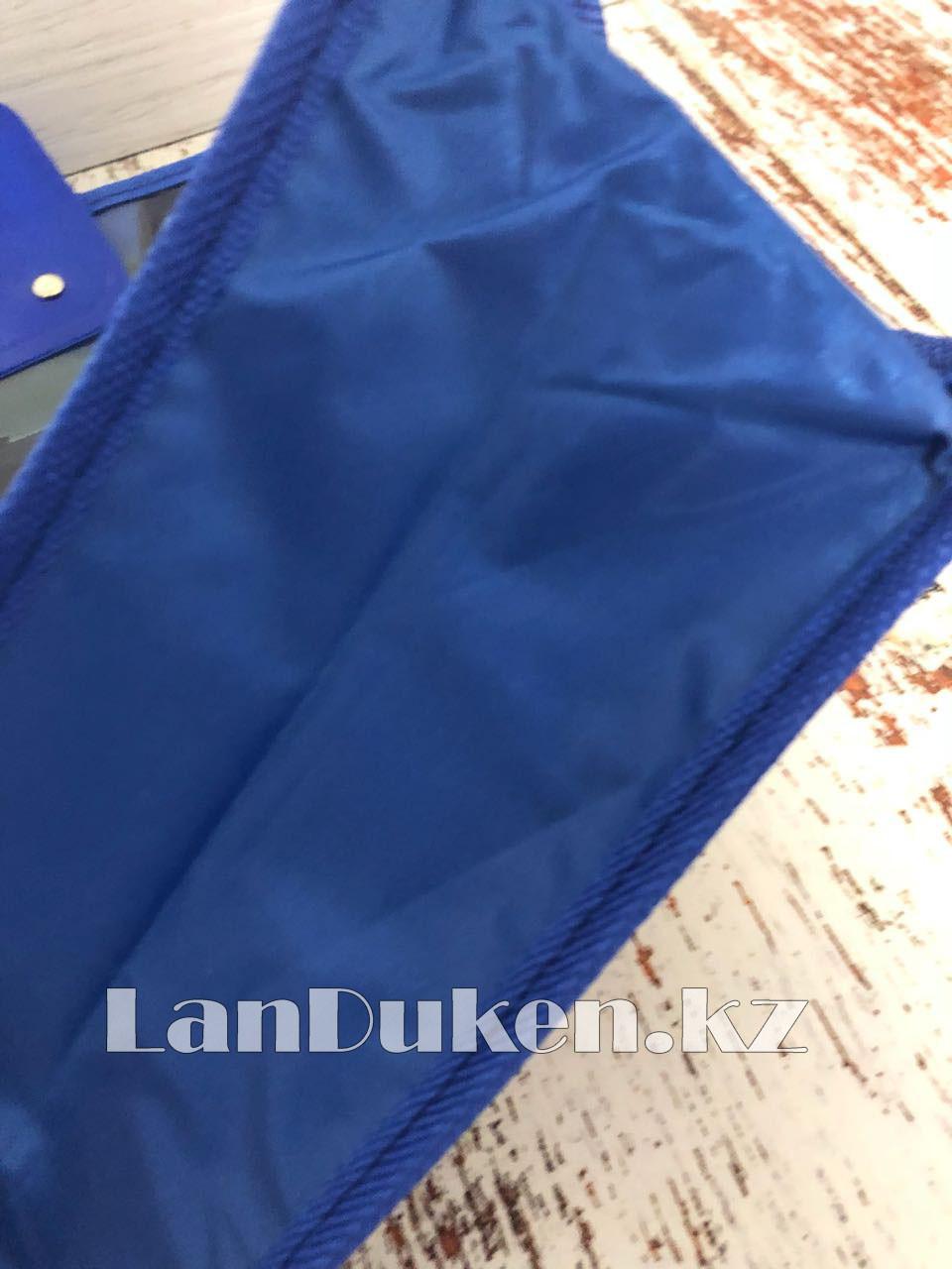 Детская папка-портфель с пластиковыми ручками Тачки (Cars) формат A4 синяя - фото 6