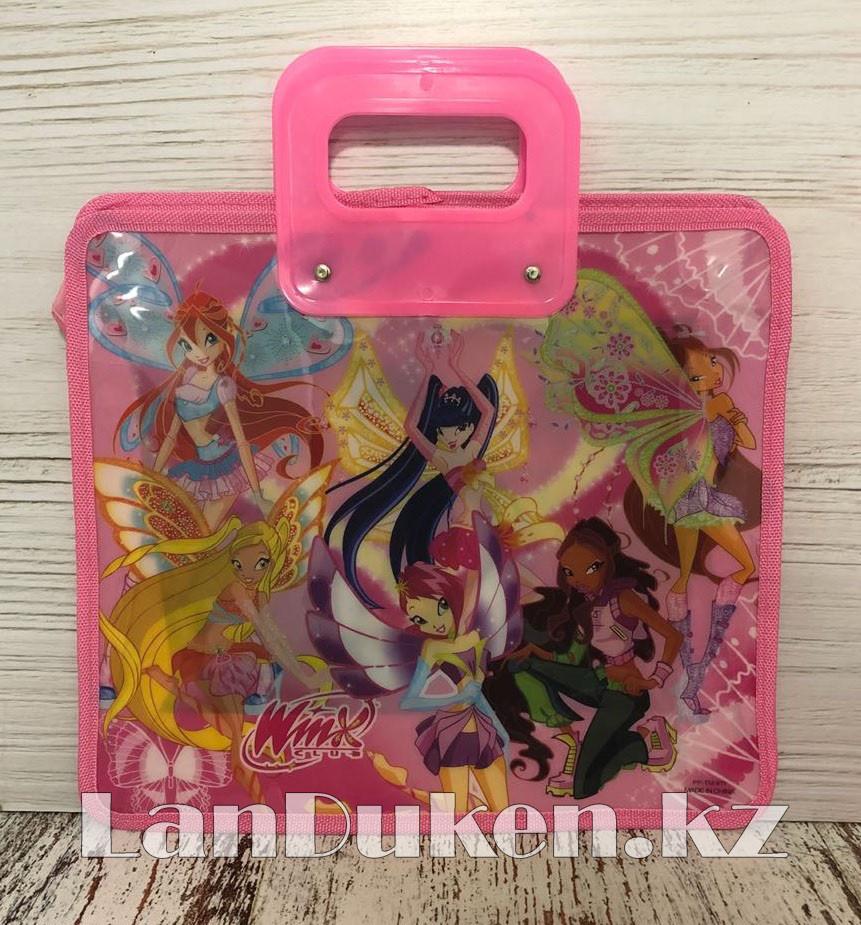 Детская папка-портфель с пластиковыми ручками Клуб Винкс (Winx Club) формат A4 розовая - фото 1