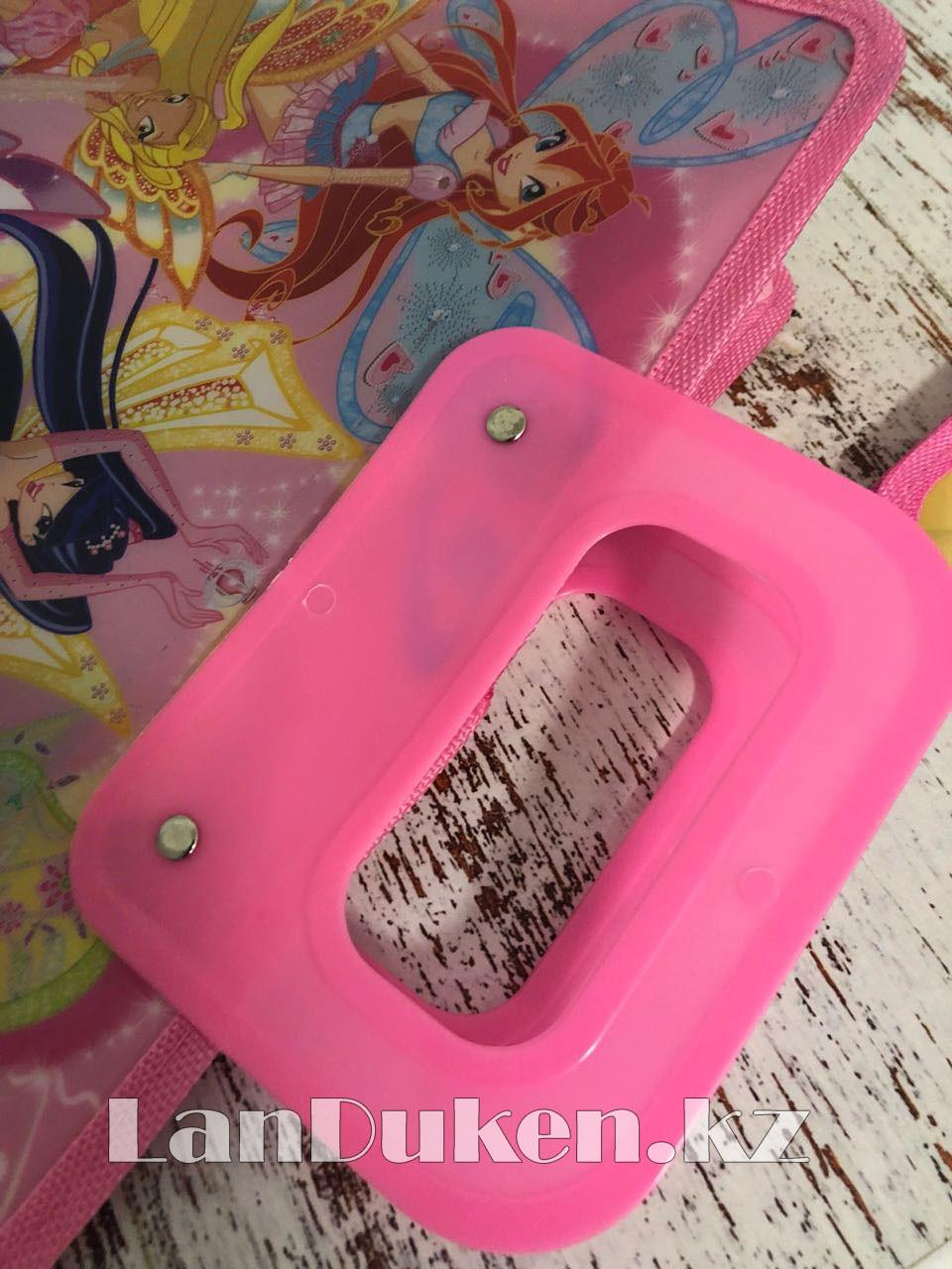 Детская папка-портфель с пластиковыми ручками Клуб Винкс (Winx Club) формат A4 розовая - фото 3