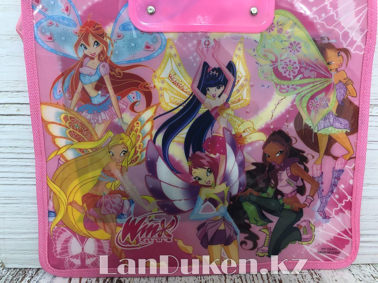 Детская папка-портфель с пластиковыми ручками Клуб Винкс (Winx Club) формат A4 розовая - фото 7