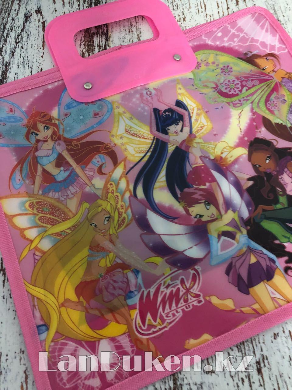 Детская папка-портфель с пластиковыми ручками Клуб Винкс (Winx Club) формат A4 розовая - фото 8