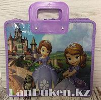 Детская папка-портфель с пластиковыми ручками София Прекрасная формат A4 фиолетовая
