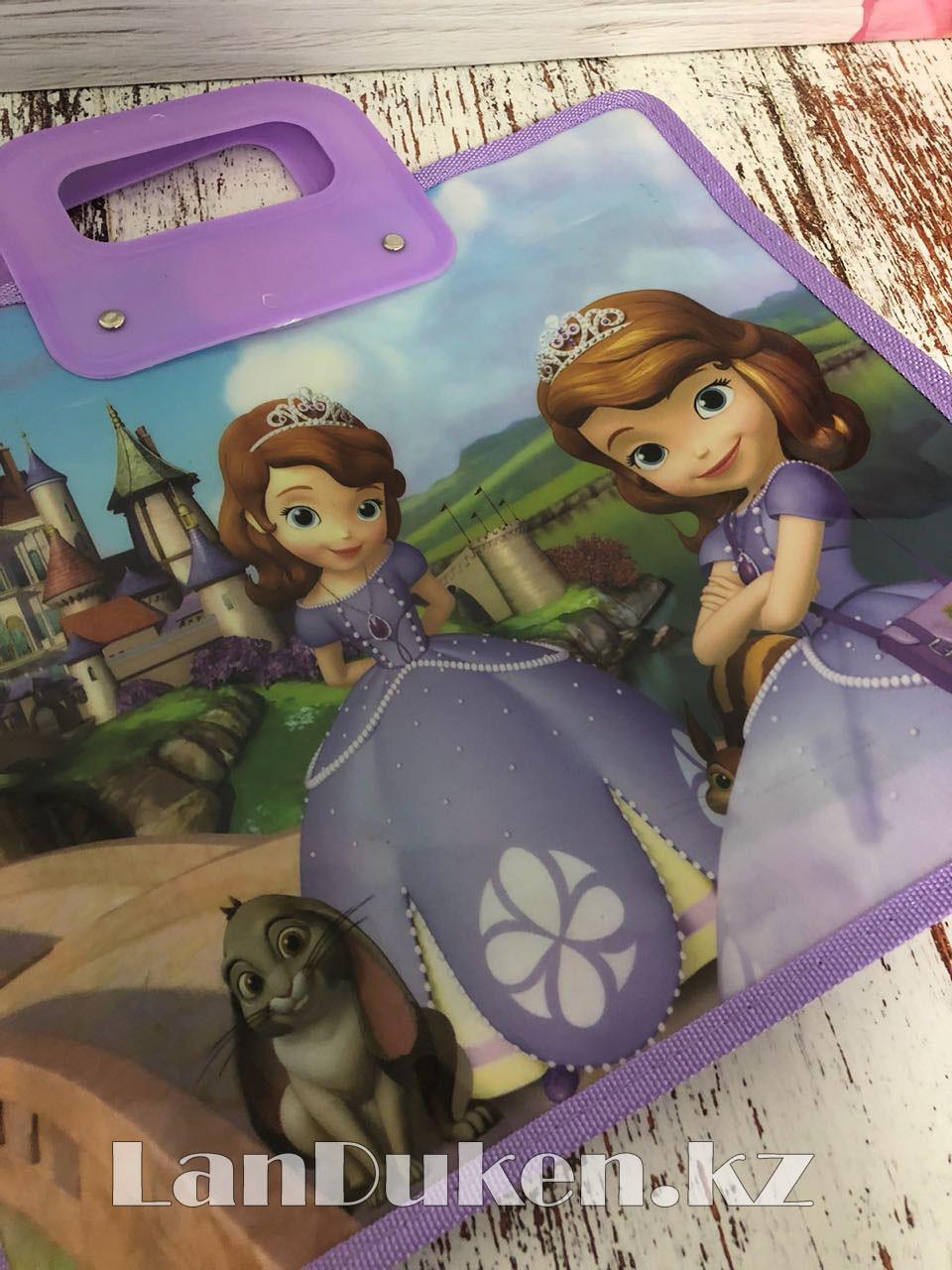 Детская папка-портфель с пластиковыми ручками София Прекрасная формат A4 фиолетовая - фото 2