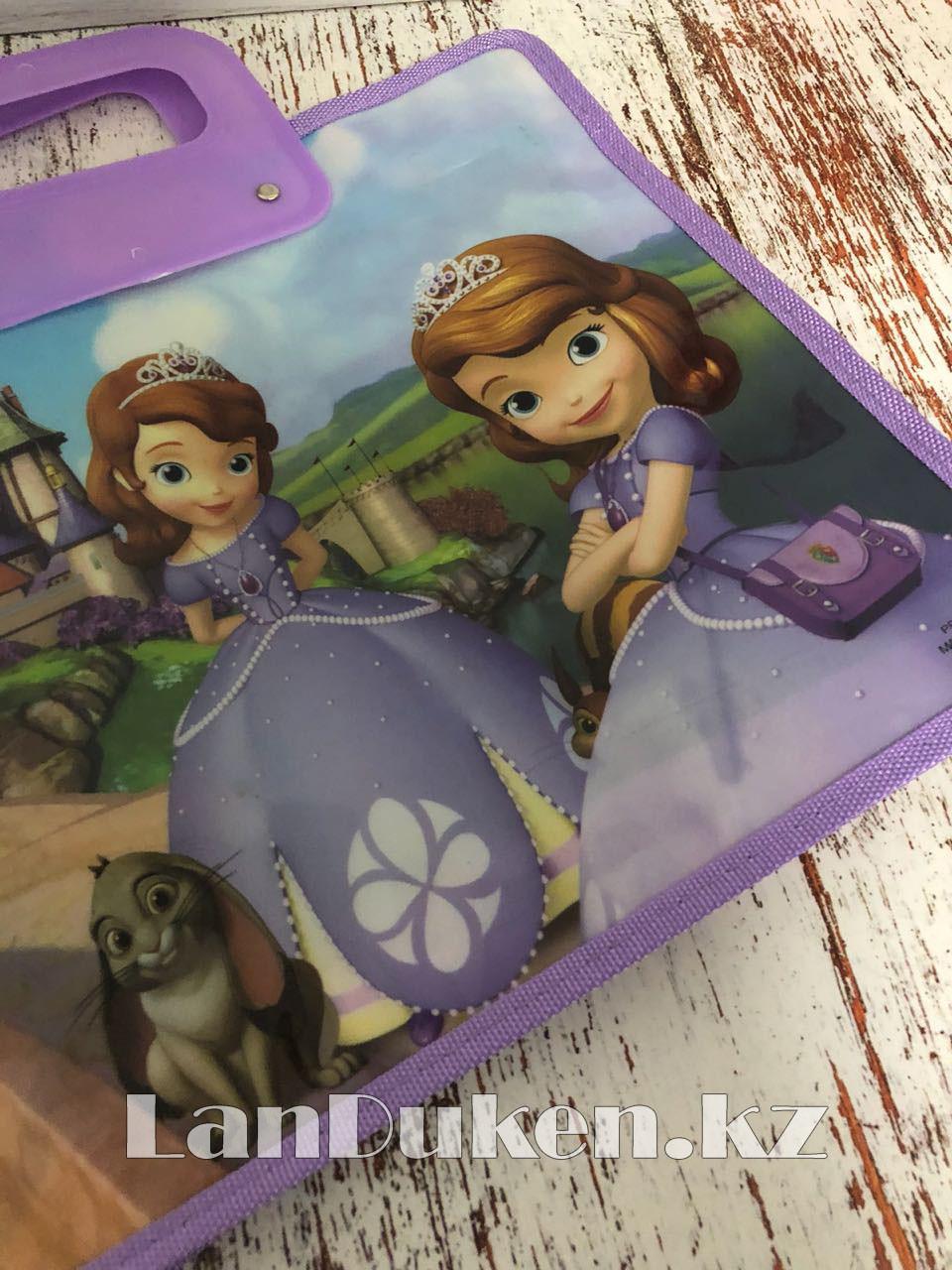 Детская папка-портфель с пластиковыми ручками София Прекрасная формат A4 фиолетовая - фото 7