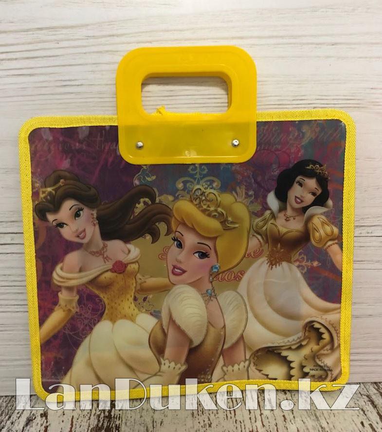 Детская папка-портфель с пластиковыми ручками Принцессы Диснея формат A4 желтая - фото 1