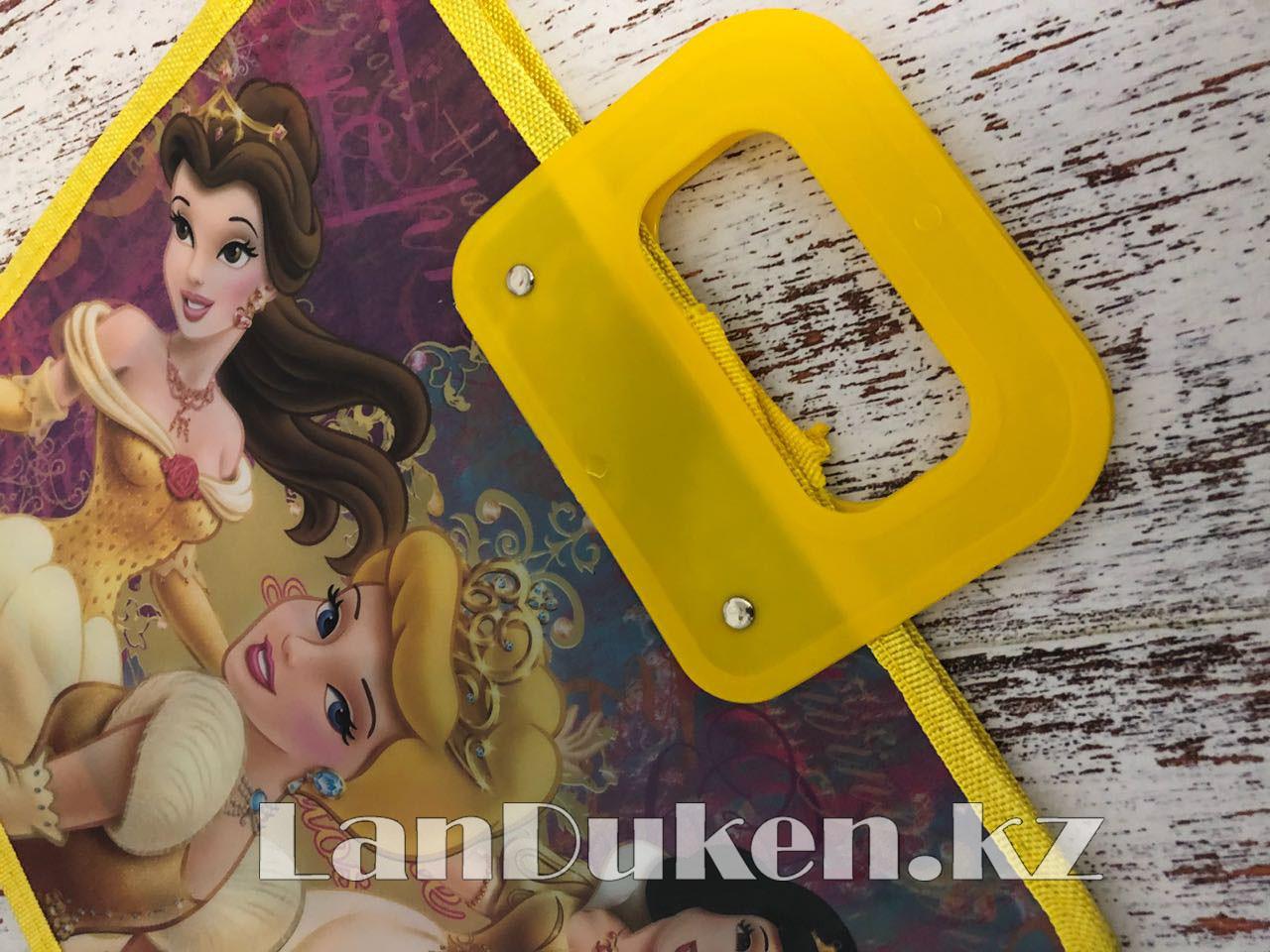 Детская папка-портфель с пластиковыми ручками Принцессы Диснея формат A4 желтая - фото 3
