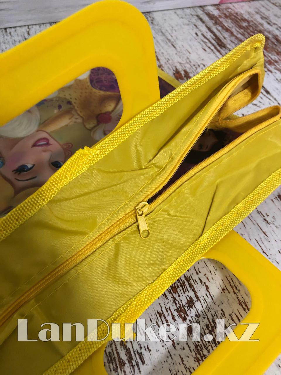 Детская папка-портфель с пластиковыми ручками Принцессы Диснея формат A4 желтая - фото 4