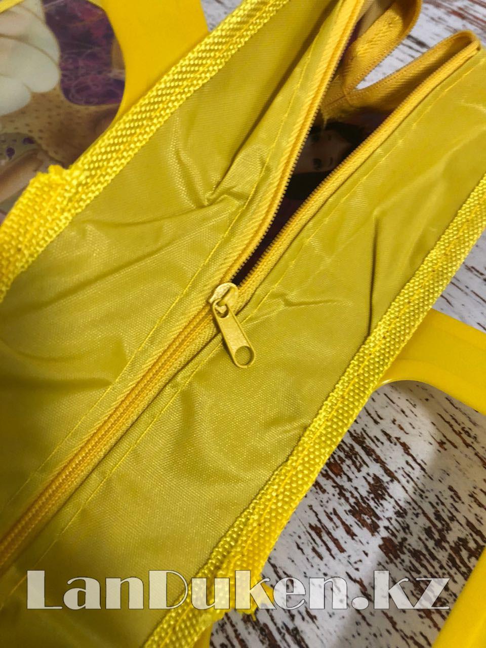 Детская папка-портфель с пластиковыми ручками Принцессы Диснея формат A4 желтая - фото 5