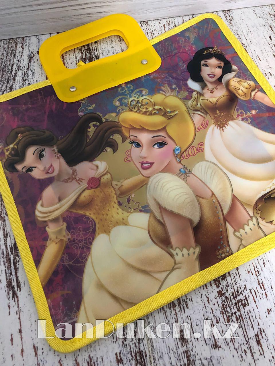 Детская папка-портфель с пластиковыми ручками Принцессы Диснея формат A4 желтая - фото 7