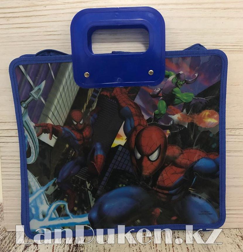 Детская папка-портфель с высокими пластиковыми ручками Человек Паук (Spider Man) формат A4 синяя - фото 1