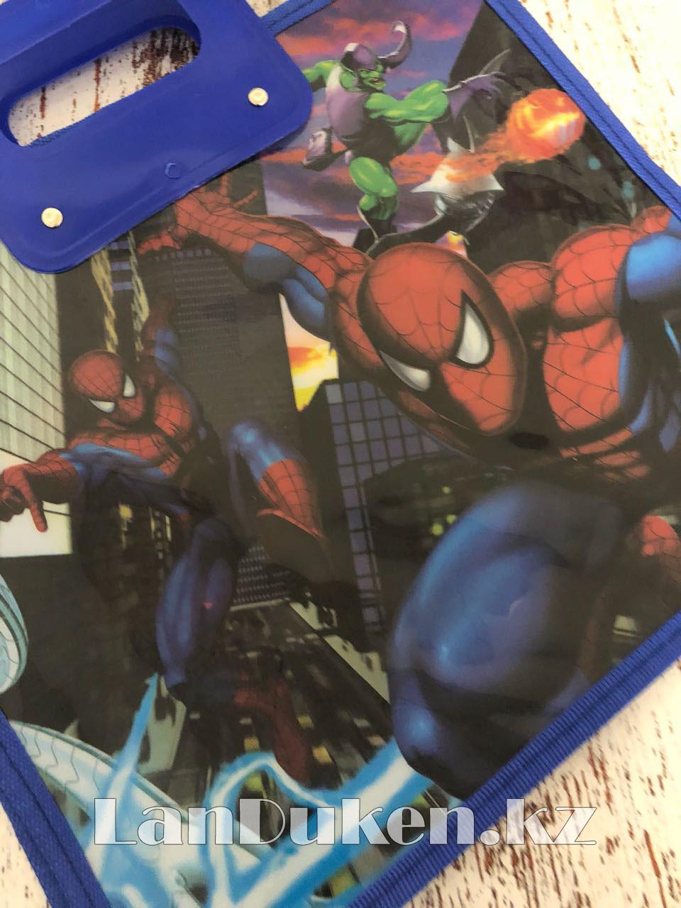 Детская папка-портфель с высокими пластиковыми ручками Человек Паук (Spider Man) формат A4 синяя - фото 2