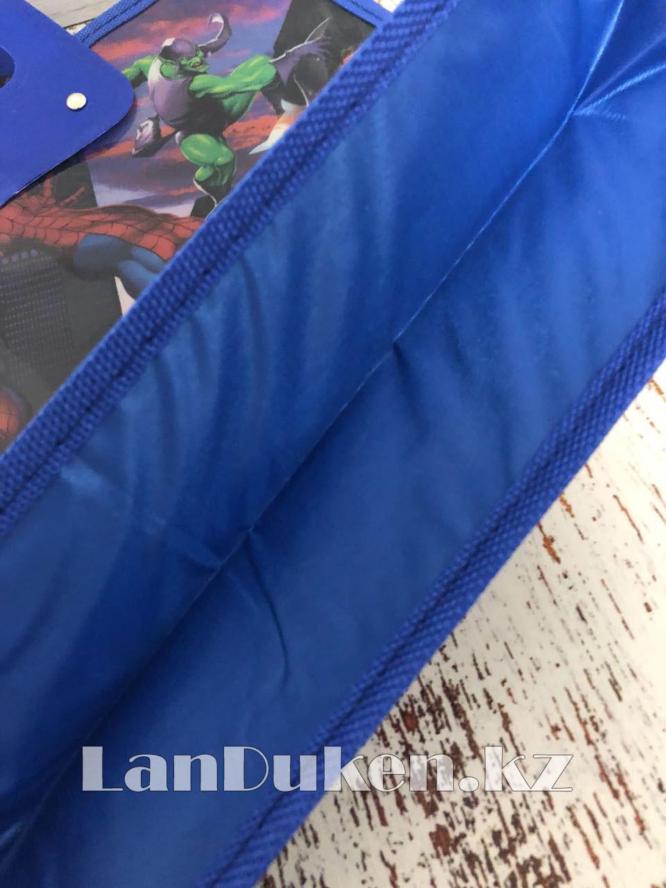 Детская папка-портфель с высокими пластиковыми ручками Человек Паук (Spider Man) формат A4 синяя - фото 4