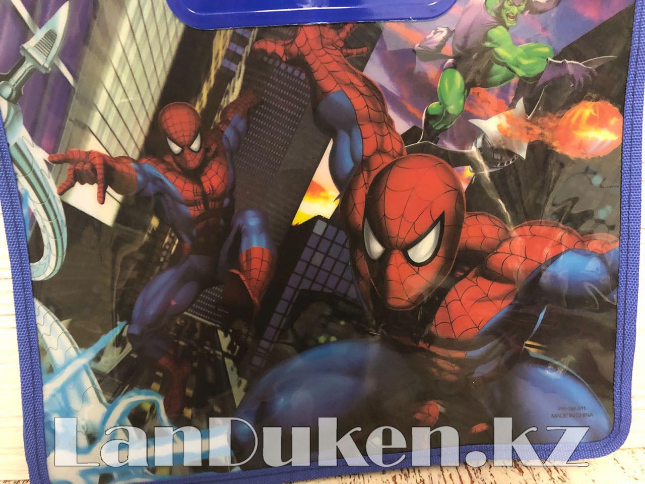 Детская папка-портфель с высокими пластиковыми ручками Человек Паук (Spider Man) формат A4 синяя - фото 5