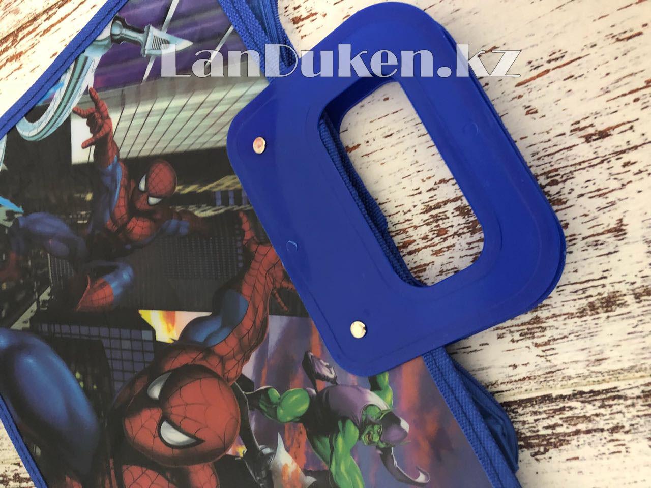 Детская папка-портфель с высокими пластиковыми ручками Человек Паук (Spider Man) формат A4 синяя - фото 6